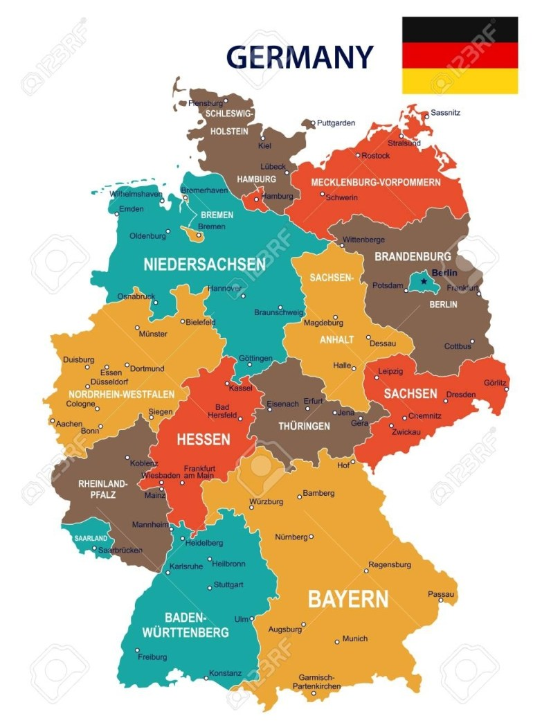 Germany Map And Flag - Vector Illustration with Germany Map And Flag