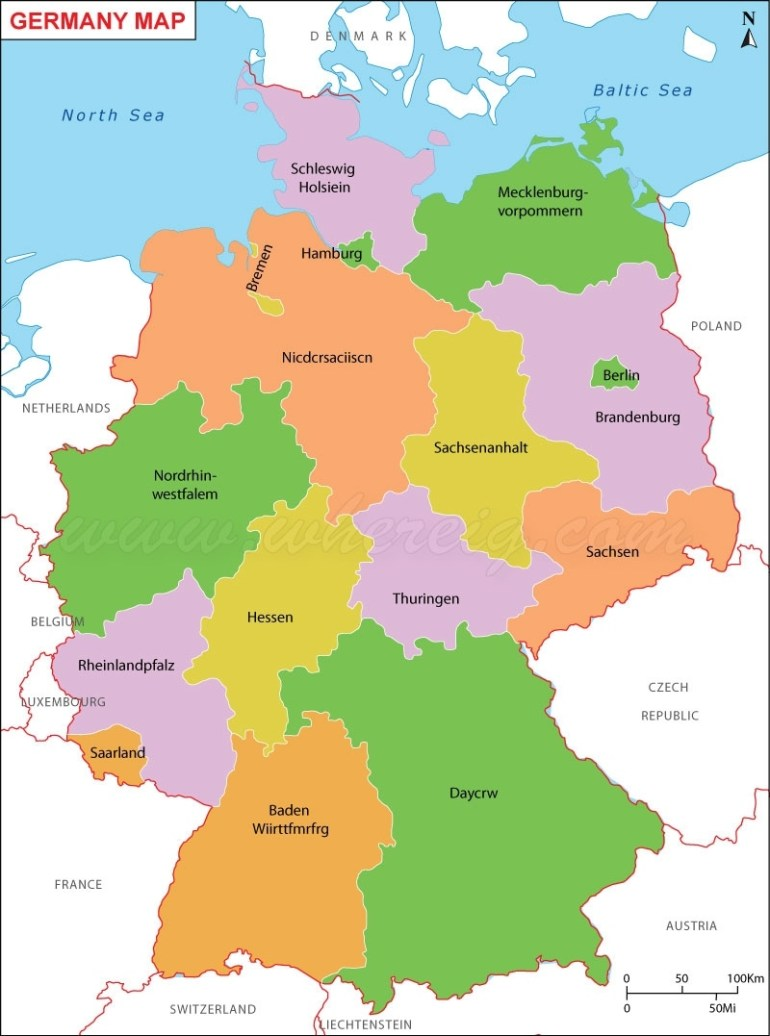 Germany Map (Deutschland-Karte), Map Of Germany, Germany States Map in Map Of Germany And Surrounding Countries