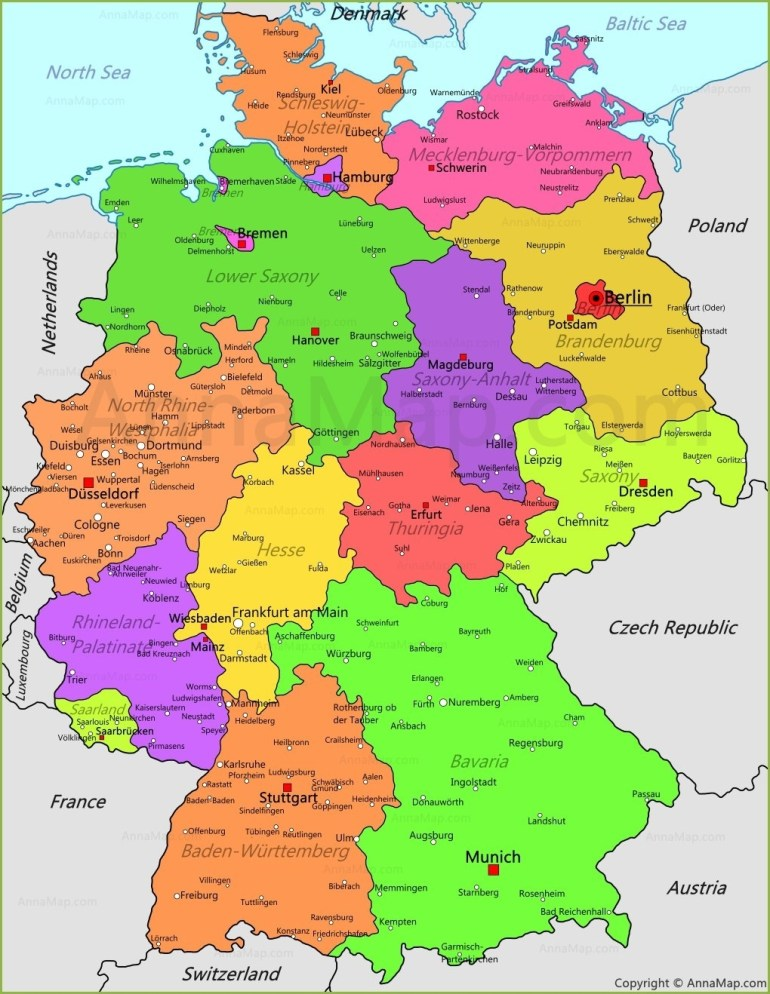 Germany Map | Germany Political Map - Annamap throughout Political Map Of Germany In English