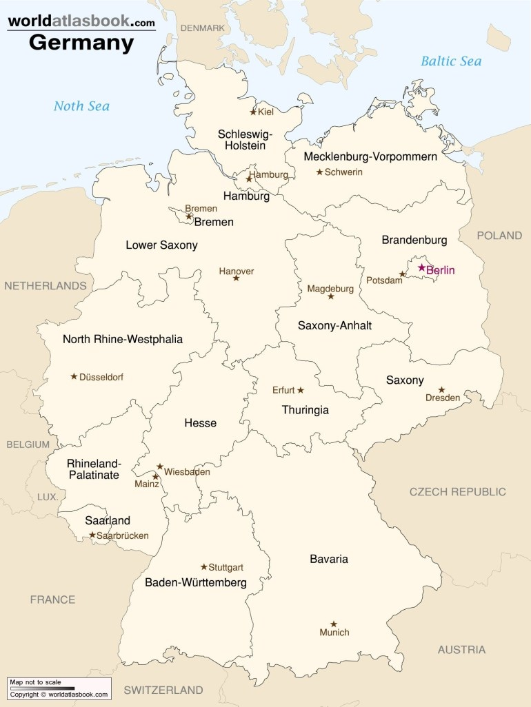 Germany - Map Of States & Capitals | Deutschland | Map, Germany with Map Of Germany With States And Capitals In German