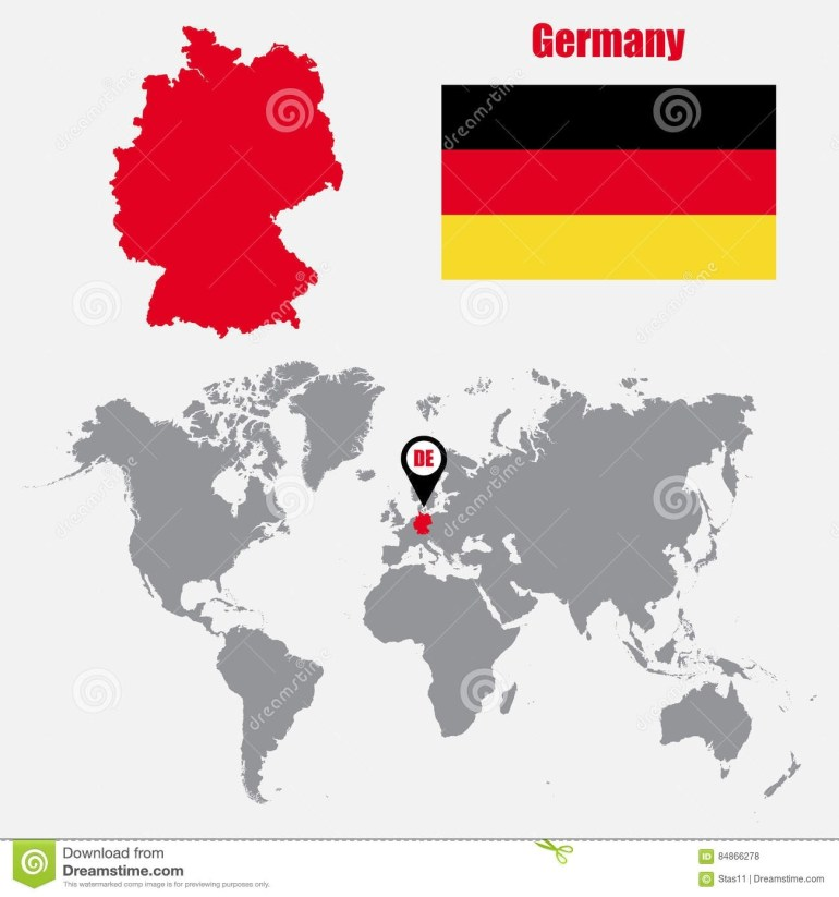 Germany Map On A World Map With Flag And Map Pointer. Vector in Germany Map In World Map