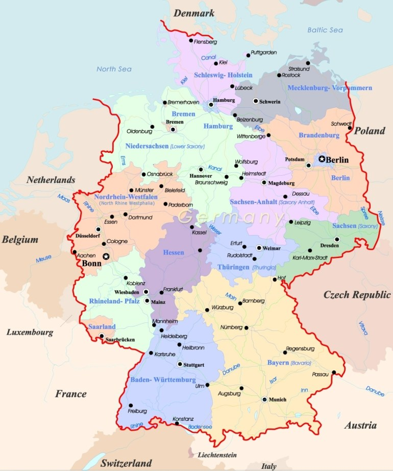 Germany Map - Travel intended for Germany Map Europe