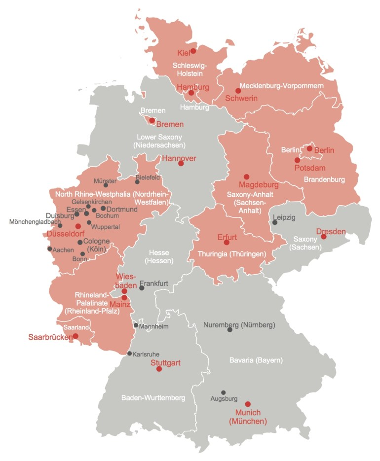 Germany Map With Cities And States regarding Germany Map States Cities
