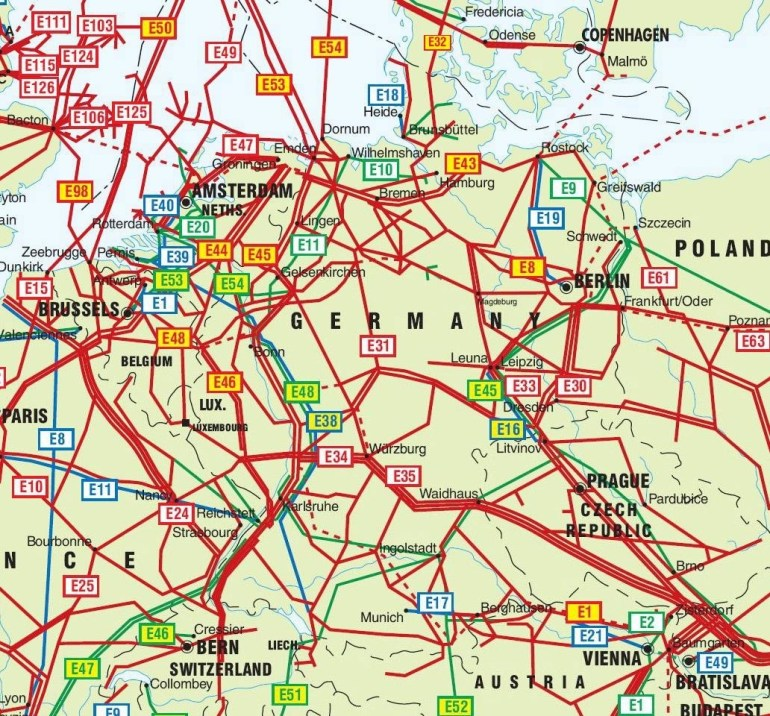 Germany, Netherlands And Czech Republic Pipelines Map - Crude Oil regarding Map Of Germany Austria And Czech Republic