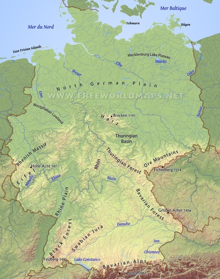 Germany Physical Map pertaining to German Rivers Map