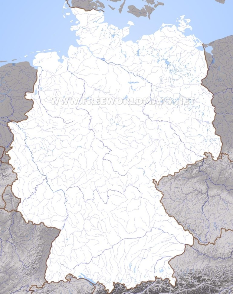 Germany Physical Map throughout Empty Map Of Germany