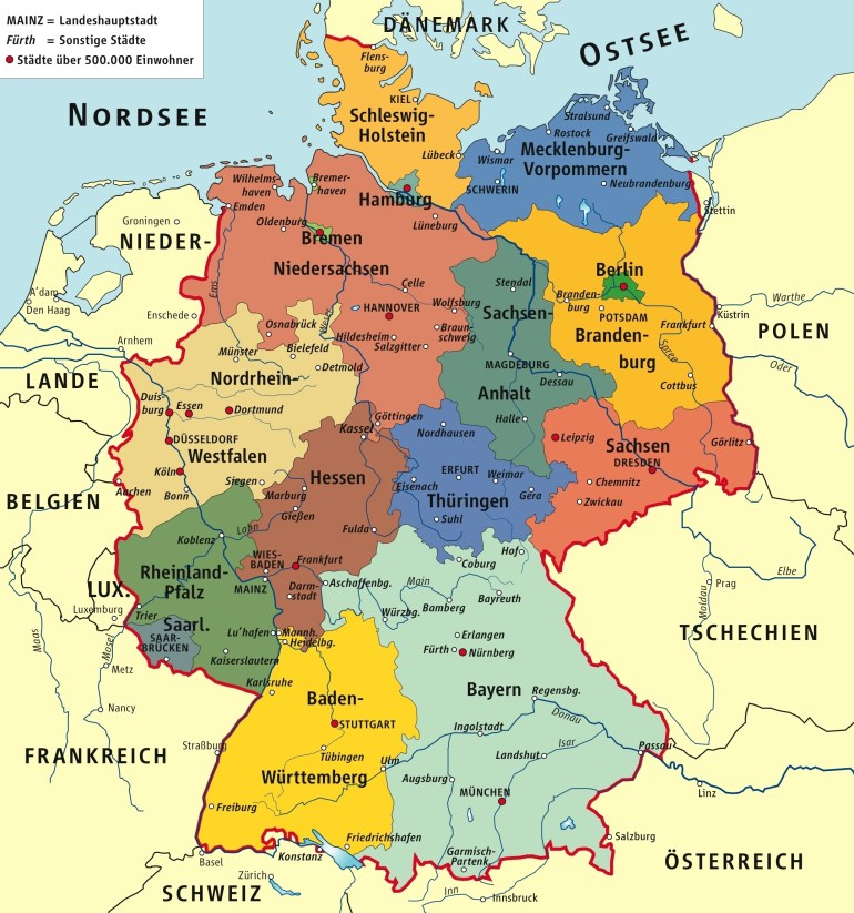 Germany Political Map regarding Map Of Germany And Surrounding Countries In German