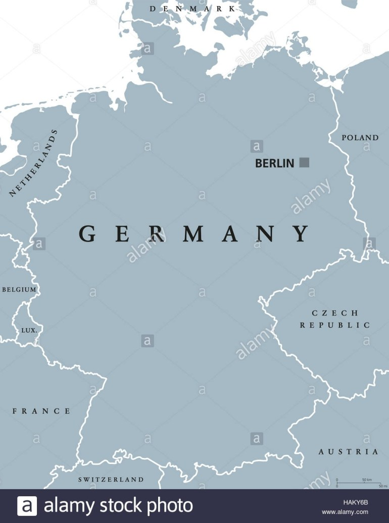 Germany Political Map With Capital Berlin, National Borders And pertaining to Map Of Germany And Austria In English