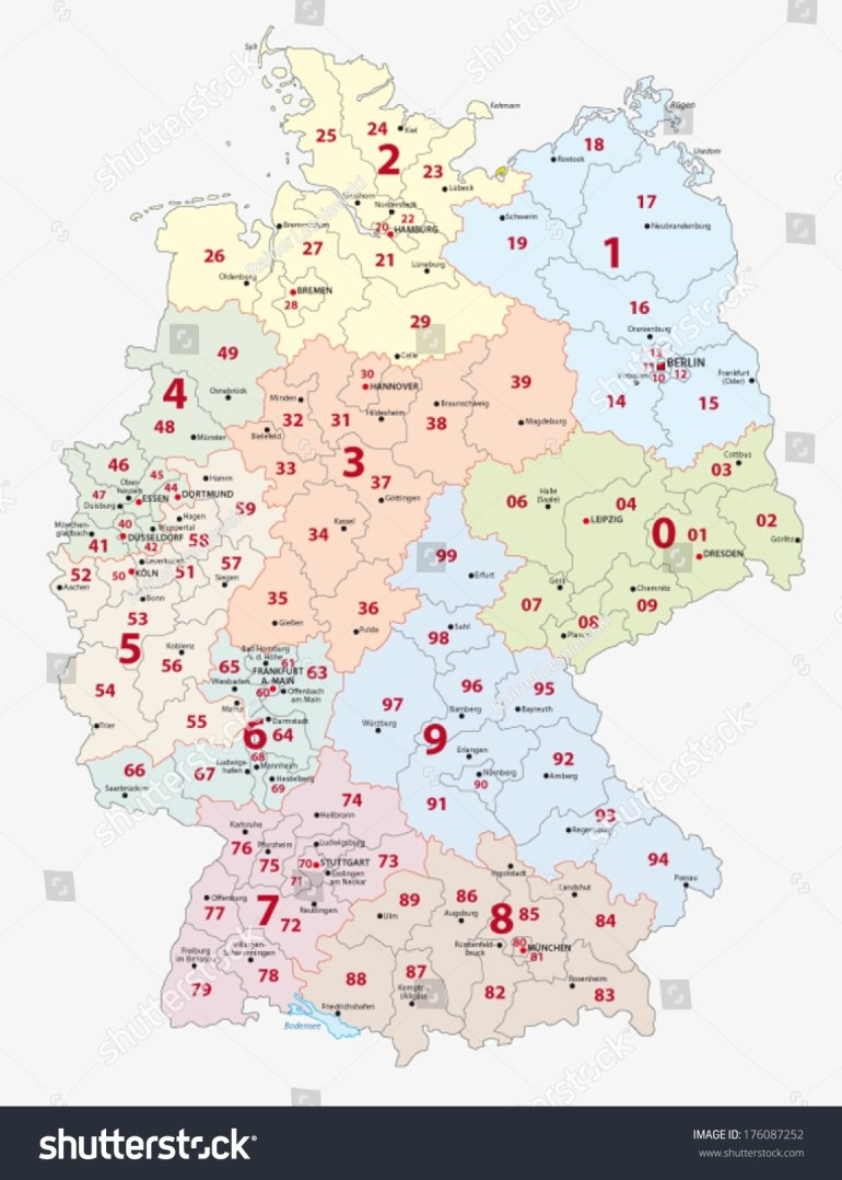 Germany Postal Codes Map Stock Photo 176087252 - Avopix pertaining to Germany Map Postal Codes