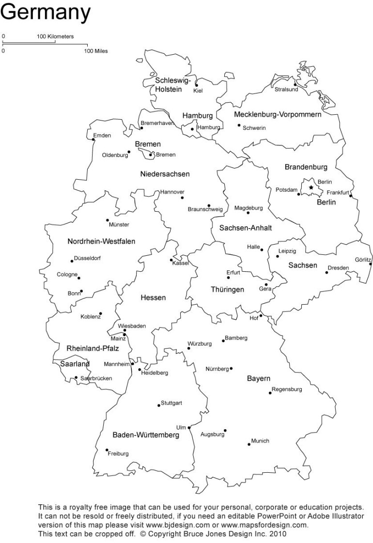 Germany Printable, Blank Map, Bonn, Berlin, Europe, Royalty Free within Germany Map Coloring Page