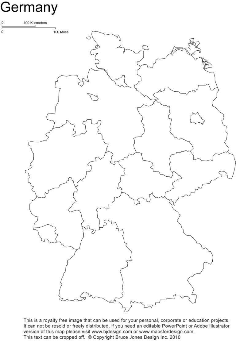 Germany Printable, Blank Maps, Outline Maps • Royalty Free for Blank Map Of Germany With States