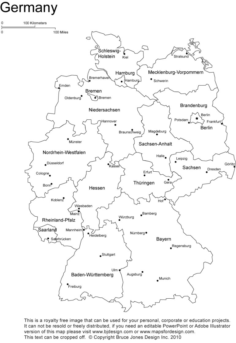 Germany Printable, Blank Maps, Outline Maps • Royalty Free within Printable Map Of Germany And Surrounding Countries