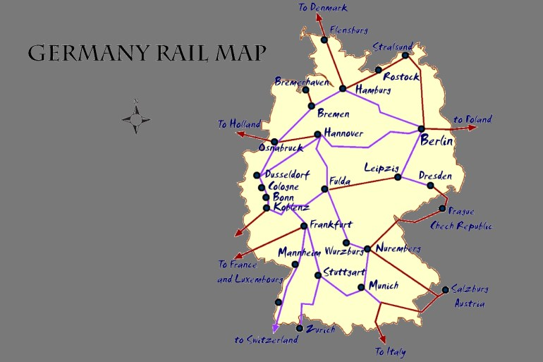 Germany Rail Map And Transportation Guide with regard to Germany Rail Map Detailed