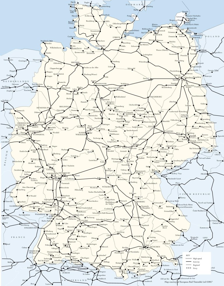 Germany Train Map - Map Of Germany Train Routes (Western Europe intended for Rail Map Germany And Austria