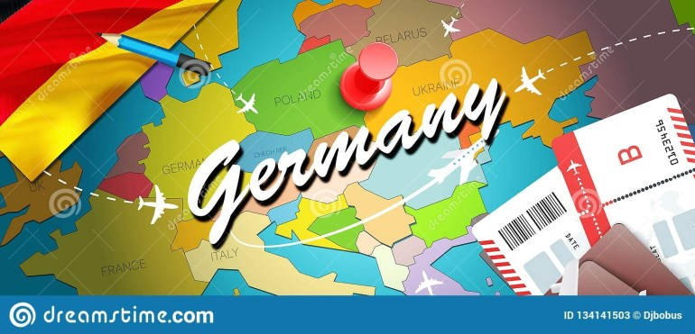 Germany Travel Concept Map Background With Planes, Tickets. Visit with regard to Germany Map Tourist Destinations