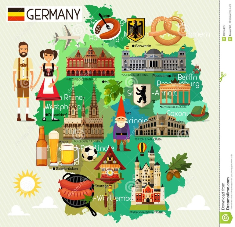 Germany Travel Map. Stock Vector. Illustration Of Cartography - 93560073 with regard to Cartoon Map Of Germany