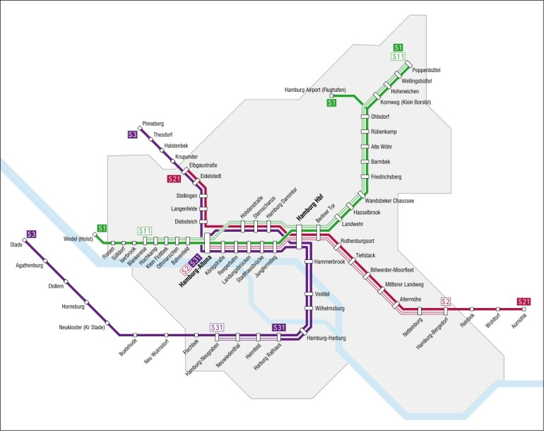 Hamburg S-Bahn — Map, Lines, Route, Hours, Tickets inside Metro Map Hamburg Germany