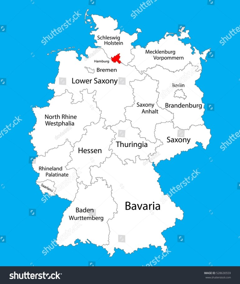 Hamburg State Map Germany Vector Map Stock Vector (Royalty Free with regard to Map Of Germany Showing Hamburg