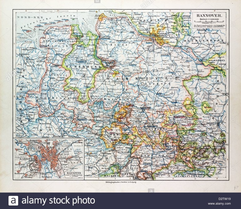 Hannover Germany Map Stock Photos & Hannover Germany Map Stock inside Map Of Hannover Germany In 1850