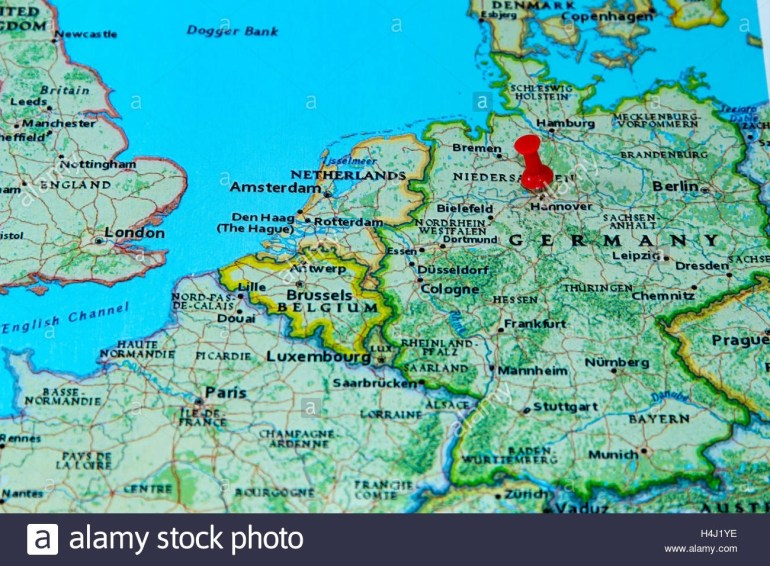 Hannover, Germany Pinned On A Map Of Europe Stock Photo: 123327890 with Hannover Germany Map