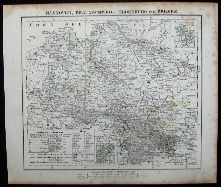 Hannover Oldenburg Bremen Lubeck North Sea C.1849 Antique Detailed pertaining to Map Of Hannover Germany In 1850