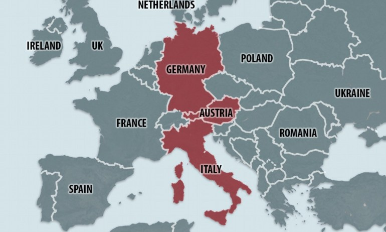 Hardline Interior Ministers Of Germany, Austria And Italy Form intended for Map Of Germany Austria And Italy