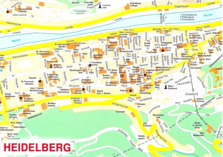Heidelberg Sightseeing Map Throughout City | Blue-Globe within Heidelberg In Germany Map