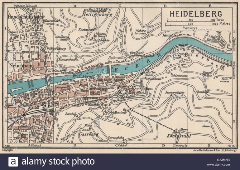 Heidelberg. Vintage Town City Map Plan. Germany, 1933 Stock Photo pertaining to City Map Of Heidelberg Germany