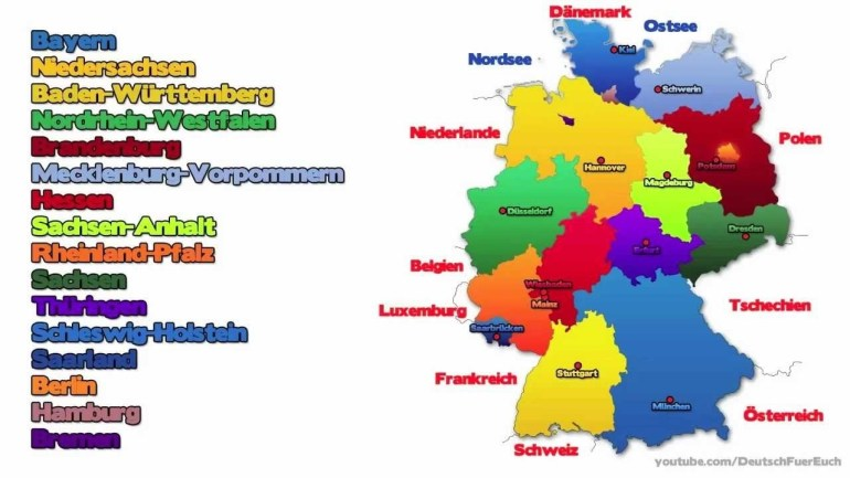 Learn German | The German Federal States/die Bundesländer | Deutsch Für  Euch 9 pertaining to Map Of Germany With States And Capitals In German