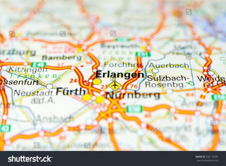 Macro View Erlangen Germany On Map Stock Photo (Edit Now) 350118785 throughout Erlangen Germany Map