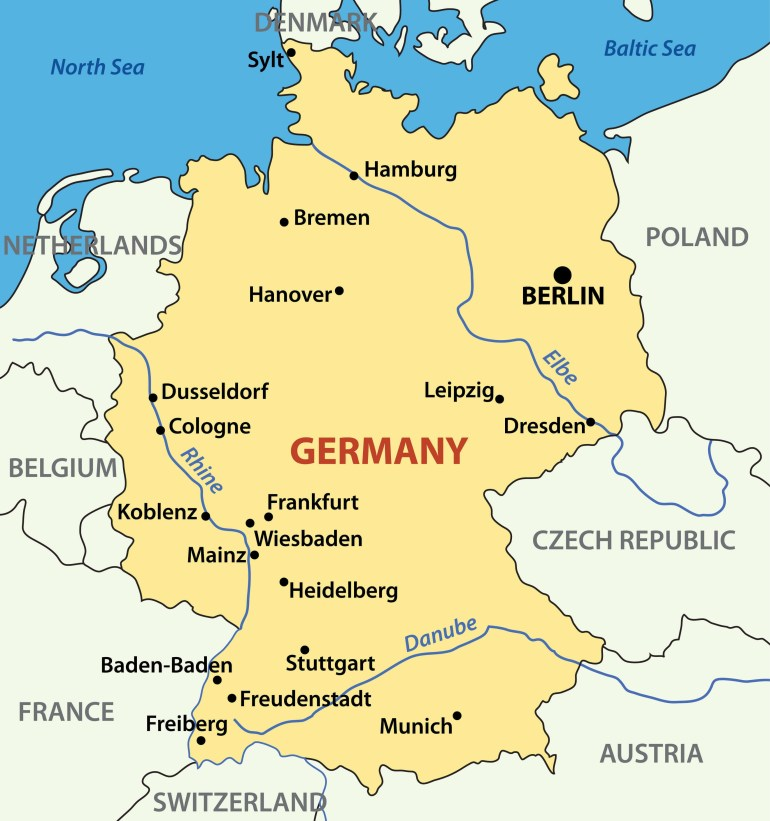 Map Germany inside Germany Map Main Cities