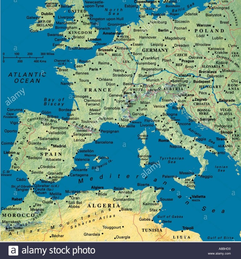 Map Maps Europe Algeria Tunesia North Africa Spain Portugal France regarding Map Of Spain France And Germany