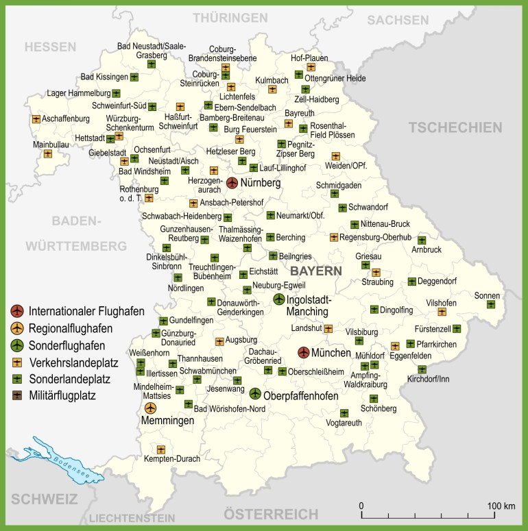 Map Of Airports In Bavaria with regard to Map Of Germany Airports And Cities
