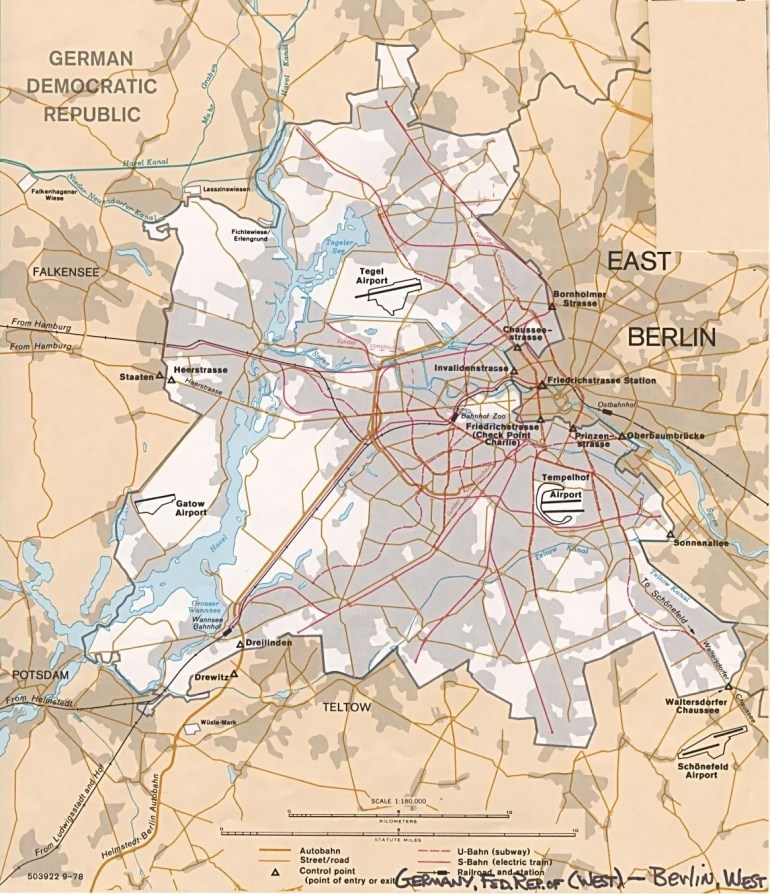 Map Of Berlin, East And West C 1989 | Geography Nerd | Berlin, West with Berlin East Germany Map