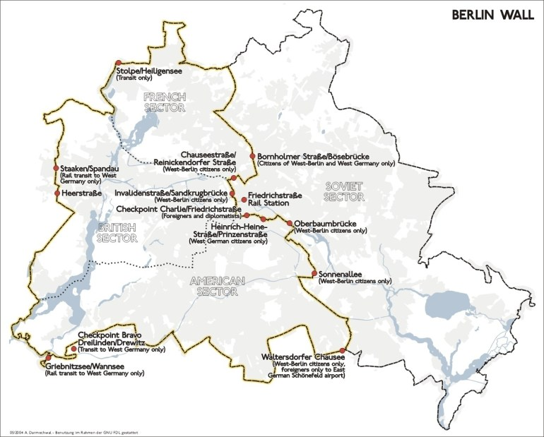 Map Of Berlin Wall Location intended for Berlin Wall Map Germany