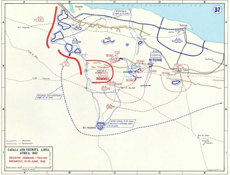 Map Of Breakout Of German-Italian Forces In Libya (June 1942) intended for Map Of German Ww2 Airfields