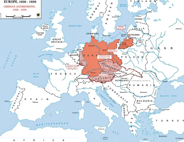 Map Of Europe 1936-1939 throughout Germany Ww2 Map