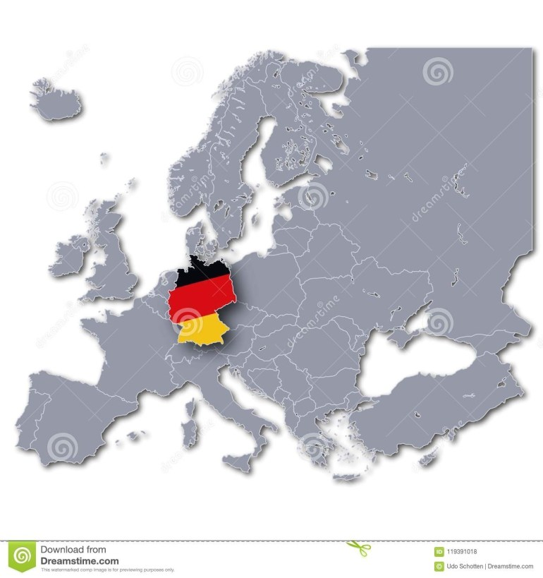 Map Of Europe With Germany Stock Illustration. Illustration Of regarding Germany In Map Of Europe