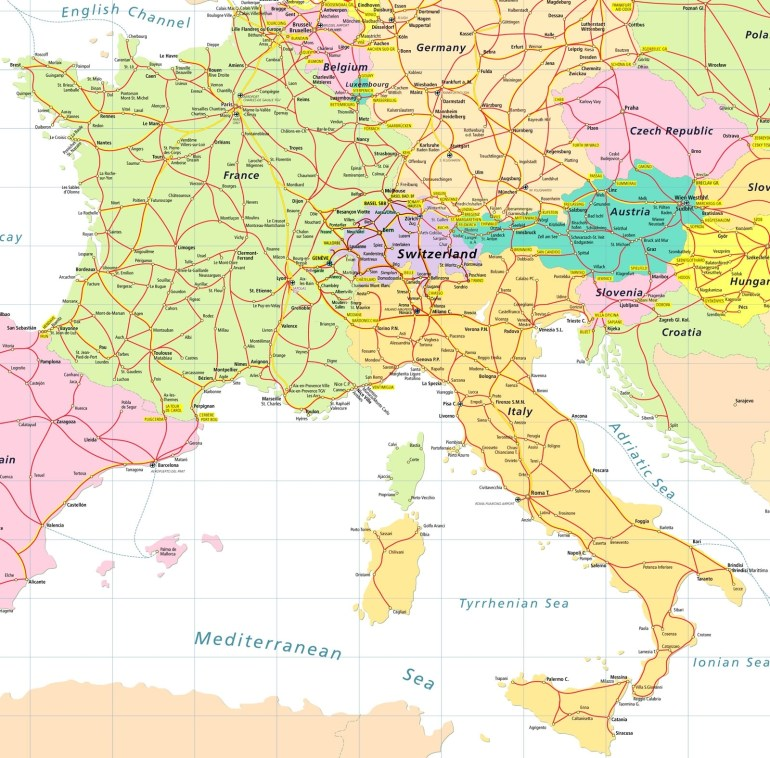Map Of France And Italy - Recana Masana for Map Of France Germany And Italy