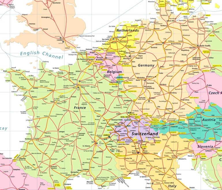 Map Of France And Switzerland - Recana Masana with France Germany Switzerland Map