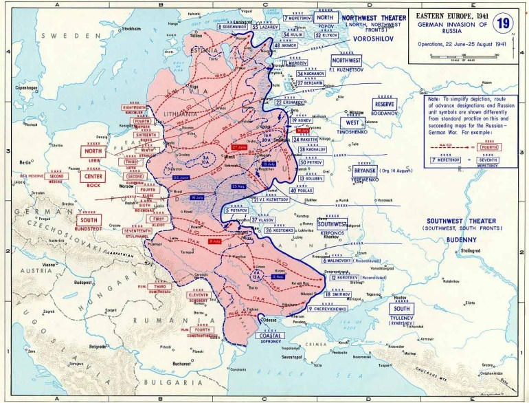 Map Of German Invasion Of Russia (June-August 1941) throughout Map Of German Invasion Ww2