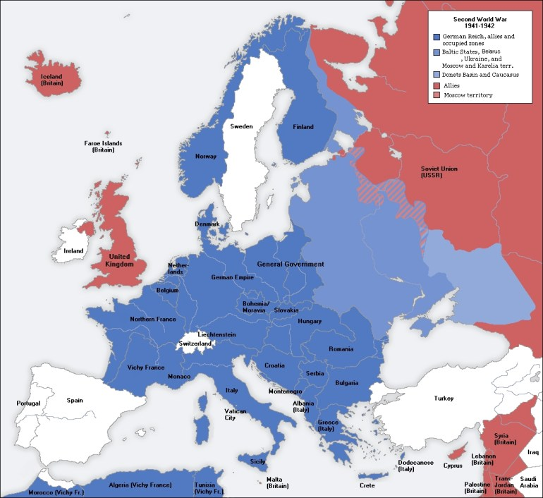 Map Of German Occupation During Ww2 In 1941-42▽ △ ✂ | School with regard to Map German Occupation During Ww2