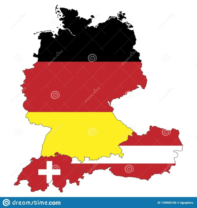 Map Of Germany, Austria And Switzerland Stock Illustration pertaining to Germany Austria Map