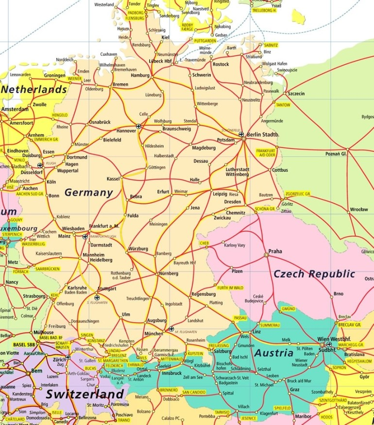 Map Of Germany Czech Republic Austria And Switzerland | Download in Map Of Germany Austria Switzerland And Czech Republic