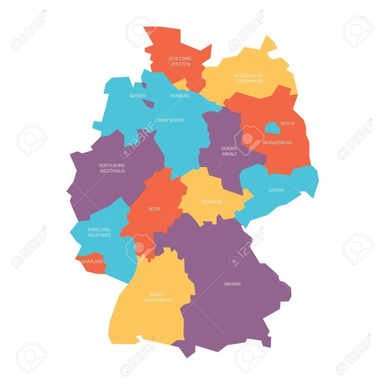 Map Of Germany Devided To 13 Federal States And 3 City-States.. intended for Map Of Germany Showing Hamburg