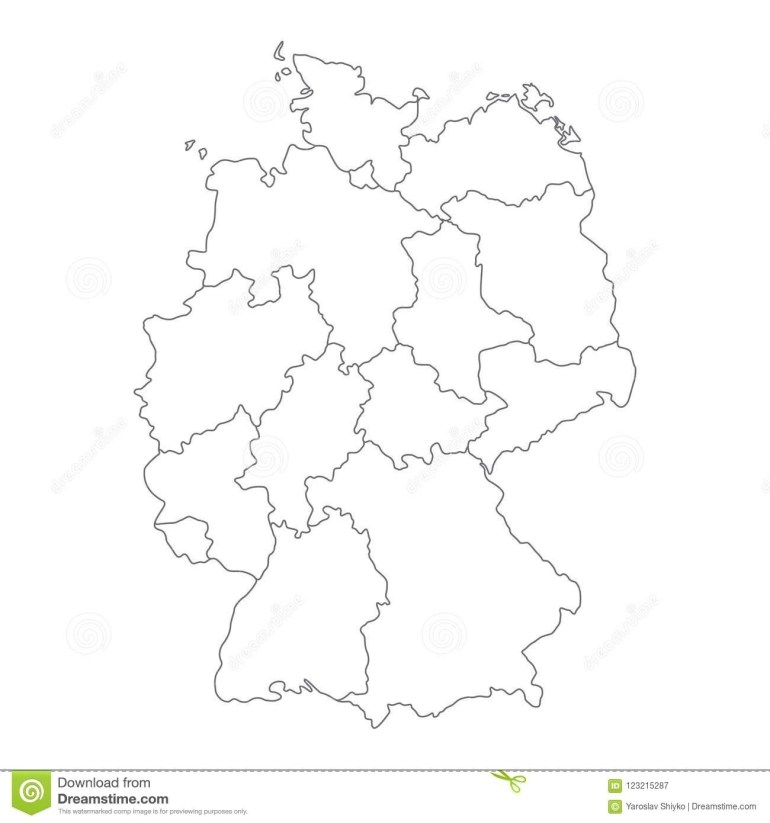 Map Of Germany Divided To Federal States And City-States. Simple pertaining to Germany Map Outline Blank