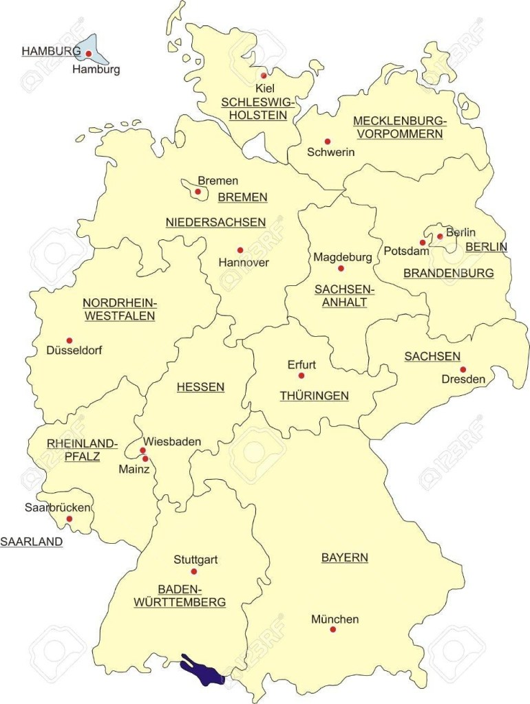 Map Of Germany, National Boundaries And National Capitals. State.. with regard to Map Of Germany Showing Hamburg