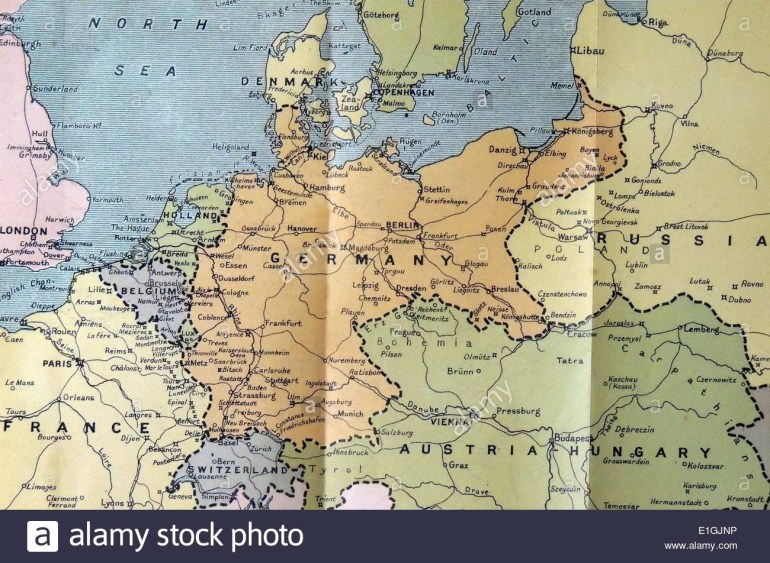 Map Of Germany Poland And The Low Countriin 1914 Stock Photo regarding Germany Map 1914