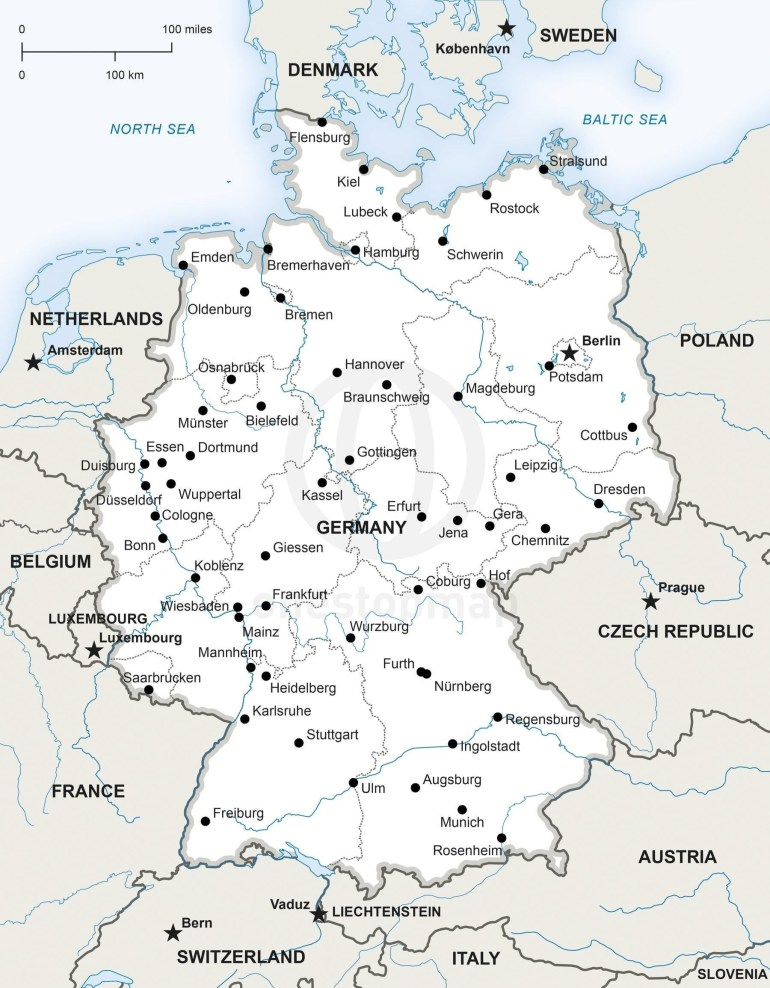 Map Of Germany Political | Germany In 2019 | Map Vector, Map throughout Printable Map Of Germany And Surrounding Countries