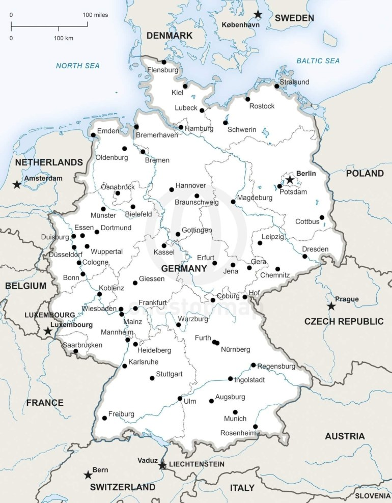 Map Of Germany Political within Detailed Map Of Germany And Austria